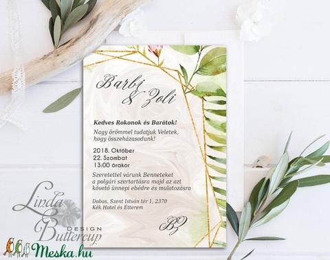 Erdei Esküvői meghívó, Natúr Esküvő, Rusztikus meghívó, erdei virágos, vad virág, Bohém, zöld, fehér, réti virág, erdő - Meska.hu