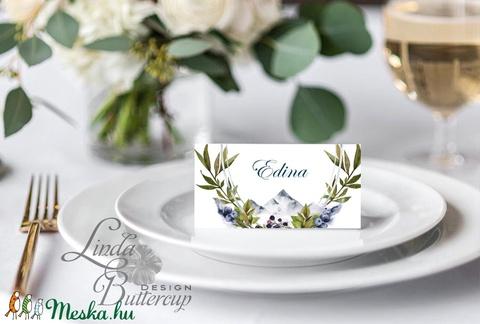 Esküvői ültető kártya, ültető, névkártya, név tábla, Esküvői dekor, dekoráció, Erdei, natúr, greenery, természetközeli - Meska.hu