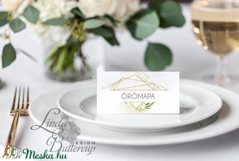 Elegáns ültetőkártya, esküvő, party kártya, dekoráció, Esküvői ültető, natúr, geometrikus, arany,  letisztult, greenery  - Meska.hu