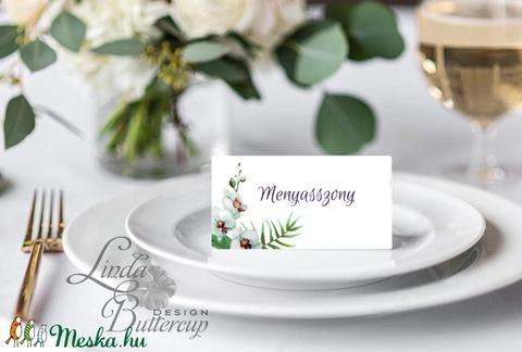 Esküvői ültető kártya, ültető, névkártya, név tábla, Esküvői dekor, dekoráció, virágos, natúr, greenery, természetközeli - Meska.hu