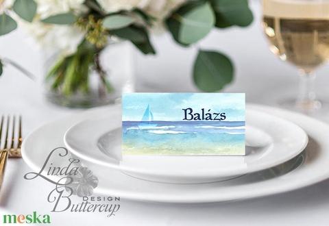 Esküvői ültető kártya, ültető, névkártya, névtábla, Esküvői dekor, dekoráció, hajó, nyári, vitorla, tengerpart, beach - Meska.hu