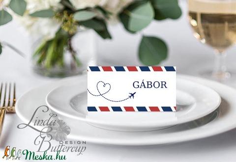 Esküvői ültető kártya, ültető, névkártya, név tábla, Esküvői dekor, dekoráció, utazós, repülő, travel, térkép, világjáró - Meska.hu