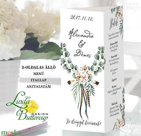 Esküvői Menü, Greenery, esküvői dekoráció, borostyán, eukaliptusz, natúr,menüsor, itallap, italok, asztalszám, menü - Meska.hu