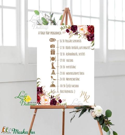 Esküvői Poszter A3, Esküvői kép, Esküvő Dekor, Esküvői felirat, program, idővonal, bordó, őszi, burgundy, bézs - Meska.hu