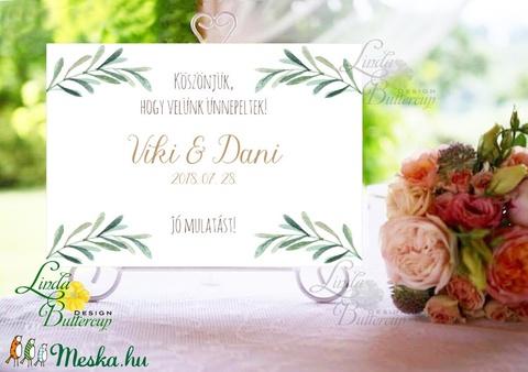 Esküvői Felirat A4, Köszöntő, Üdvözlő, idézet, greenery, zöld leveles, természetközeli, borostyán, eukaliptusz - Meska.hu
