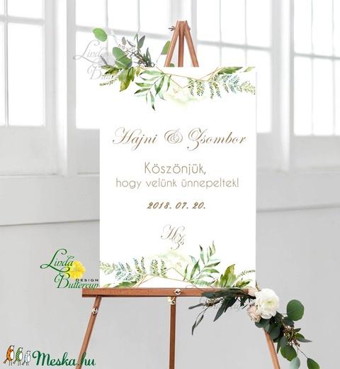 Esküvői Felirat A2, Köszöntő, Üdvözlő, idézet, greenery, zöld leveles, természetközeli, borostyán, eukaliptusz - Meska.hu
