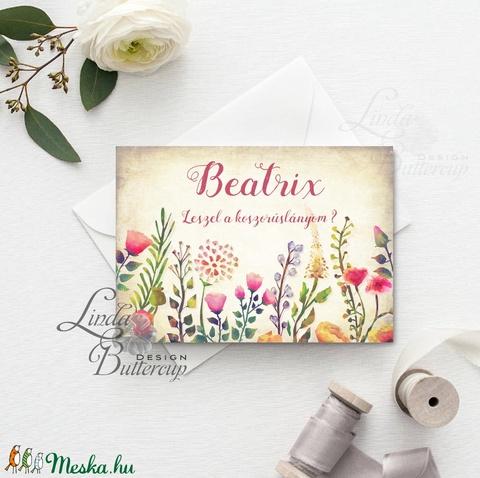 Koszorúslány felkérő lap, Tanú felkérő lap, Esküvői Képeslap, virágos, greenery, natúr, esküvői meghívó, tanú, esküvő - esküvő - meghívó & kártya - meghívó - Meska.hu