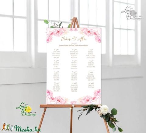 Bohó Ültetési rend, Natúr, virágos, seat chart, seating plan, Esküvői ültetésirend, Ültetők, Ültetésrend, virág - esküvő - meghívó & kártya - ültetési rend - Meska.hu