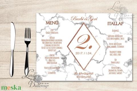 Esküvői Menü, menüsor, itallap, italok, asztalszám, marble, márvány, geometrikus formák, krém, gold, rombusz - esküvő - meghívó & kártya - menü - Meska.hu