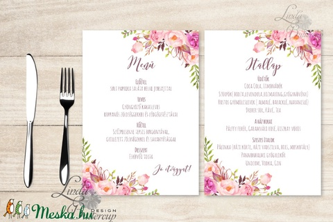 Két lapos Menü, Itallap, Étlap, Vacsora, esküvői menüsor, virágos, romantikus, nyugalmas, békés - esküvő - meghívó & kártya - menü - Meska.hu