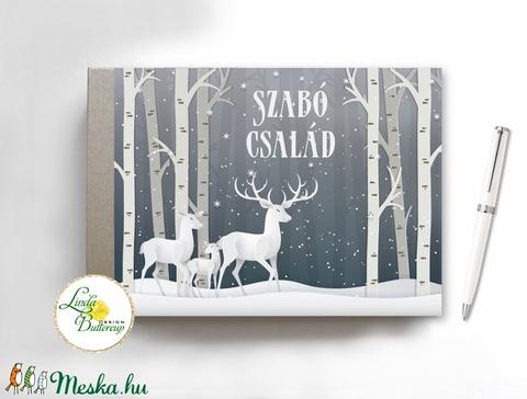 Karácsonyi ajándék, emlékkönyv, napló, recept könyv, könyv, füzet, családi album, egyedi, személyre szóló, szarvas, téli (LindaButtercup) - Meska.hu