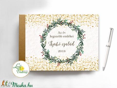 Karácsonyi ajándék, emlékkönyv, napló, könyv, arany könyv, füzet, családi album, egyedi, személyre szóló, koszorú, téli (LindaButtercup) - Meska.hu