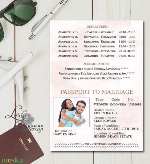 Útlevél meghívó, Beszállókártya Meghívó, Repülőjegy, jegy, utazás, travel, egyedi, fotós, fényképes meghívó, kinyithatós - esküvő - meghívó & kártya - meghívó - Meska.hu