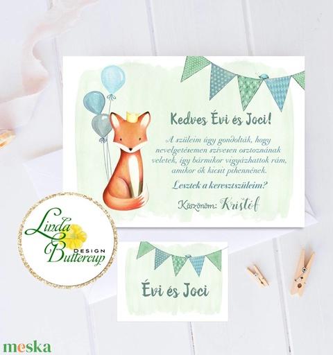 Keresztszülő felkérő lap, Keresztanya, keresztapa, Keresztelő meghívó, baba, baby, képeslap, keresztszülő, róka (LindaButtercup) - Meska.hu