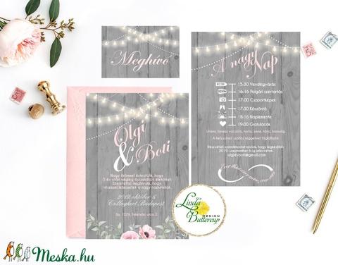 Esküvői meghívó, szürke, ezüst, rusztikus, fényfüzér, fa háttér, virágos meghívó, bazsarózsa, meghívó csomag, pink - esküvő - meghívó & kártya - meghívó - Meska.hu