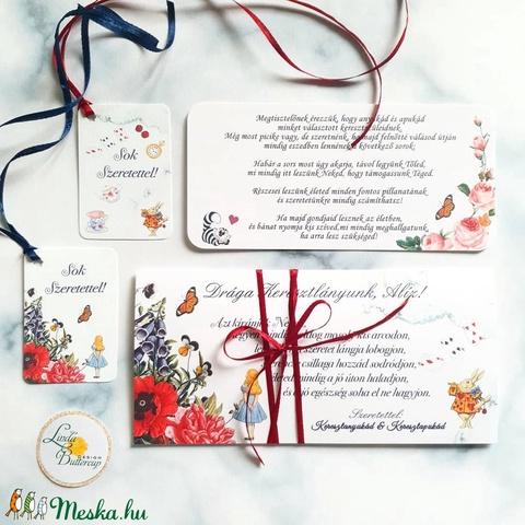 keresztelő ajándék, Pénzátadó boríték, alíz csodaországban, szülinapi Ajándék,  - otthon & lakás - papír írószer - boríték - Meska.hu