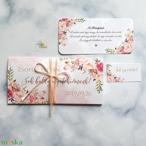 Pénzátadó boríték, pénz átadó lap, Nászajándék, Gratulálunk képeslap, Esküvői Gratuláció, pénz lap, virágos, egyedi - esküvő - emlék & ajándék - nászajándék - Meska.hu