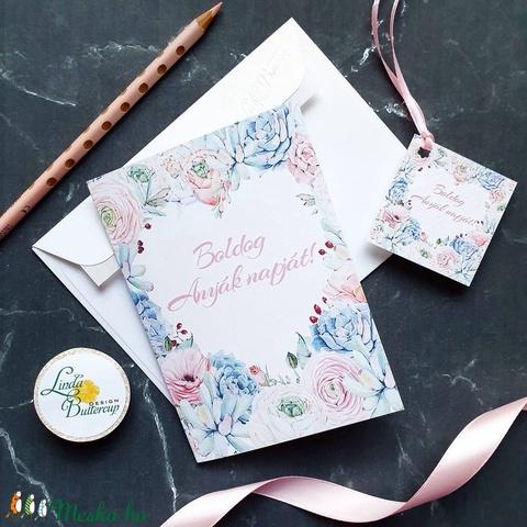 Anyák napi Képeslap, Kísérőkártyával együtt, Anyának, Anya lap, Anyák napja, virágos üdvözlőlap, Anyáknapi ajándék, AL10 - Meska.hu