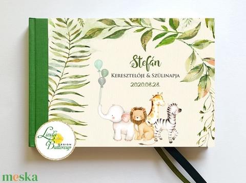 Szafari állatos Babanapló, baba könyv, megérkeztem, babváró ajándék, afrikai állatok, dzsungel - otthon & lakás - papír írószer - könyv - Meska.hu