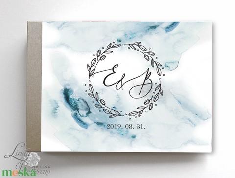 Ezüst, Kék vízfesték Esküvői Emlékkönyv, Vendégkönyv, könyv, Esküvői vendégkönyv,  - esküvő - emlék & ajándék - vendégkönyv - Meska.hu