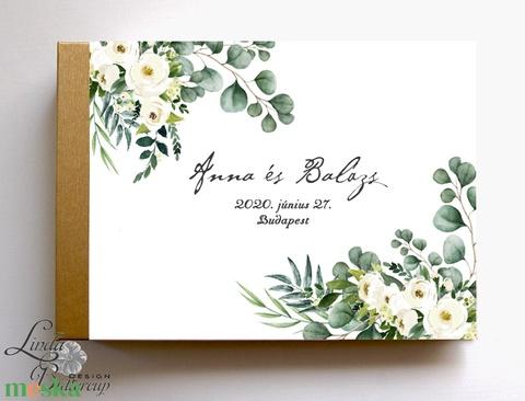 Krém virágos, eukaliptusz, Greenery Esküvői Emlékkönyv, Vendégkönyv, könyv, Esküvői vendégkönyv, zöld levél, (LindaButtercup) - Meska.hu