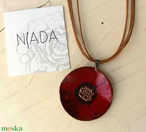 Bordó anemona pipacs virág tűzzománc nyaklánc: tűzzománc nyaklánc piros pipacs medál (lineornament) - Meska.hu