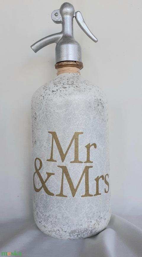 Festett Retro szódásüveg, Mr and Mrs (LipociPincze) - Meska.hu
