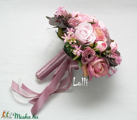 MauveGarden mályva-rózsaszín menyasszonyi örökcsokor (Lolli) - Meska.hu