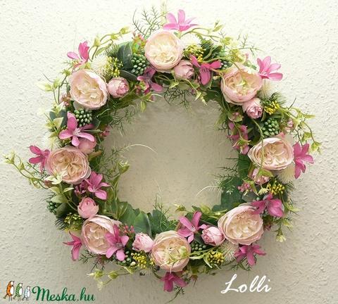 Vidám virágos tavaszi kopogtató (Lolli) - Meska.hu
