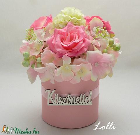 Rózsaszín köszönettel virágdoboz (Lolli) - Meska.hu