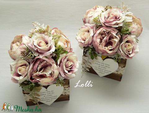 Vintage rózsás szülőköszöntő virágdobozok párban (Lolli) - Meska.hu