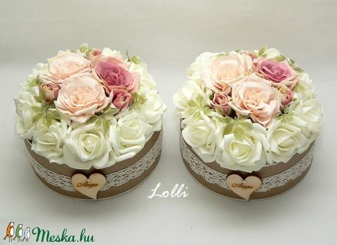 Vintage virágdoboz pár - púderszín rózsákkal (Lolli) - Meska.hu