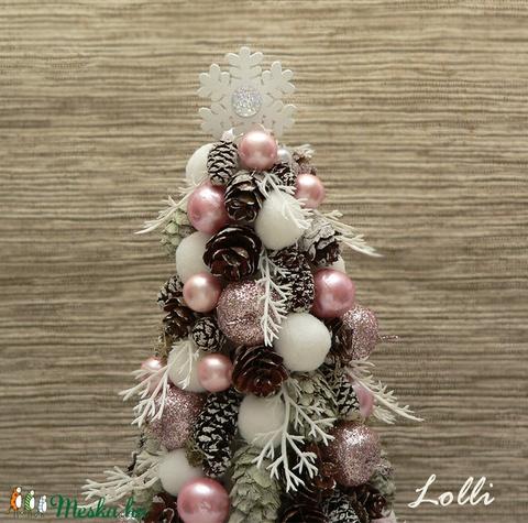 Rózsaszín-fehér mini karácsonyfa (Lolli) - Meska.hu