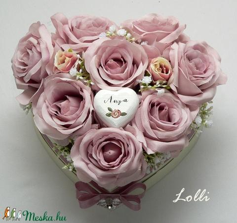 Mályvarózsás szív virágdoboz (Lolli) - Meska.hu
