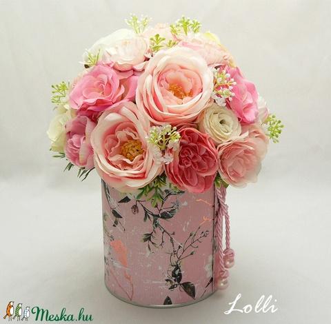 Rózsaszín rózsás virágdoboz virágbox virággomba - Meska.hu