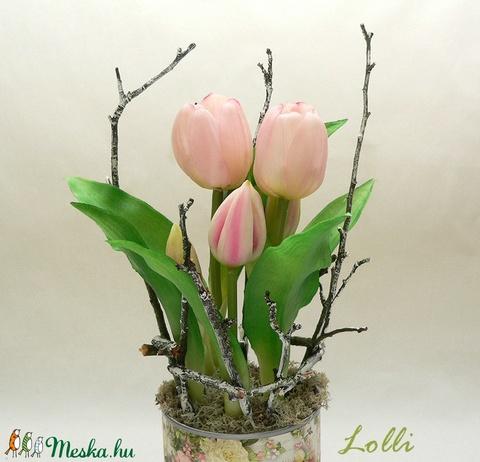Cserepes élethű tulipán (Lolli) - Meska.hu