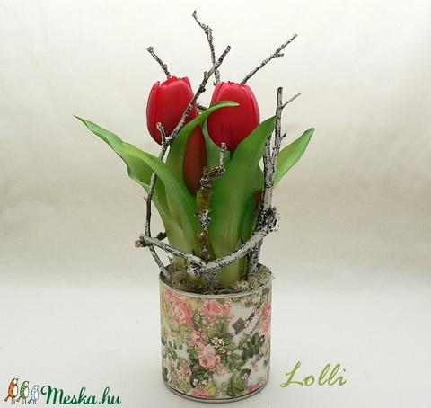 Cserepes élethű tulipán piros - Meska.hu