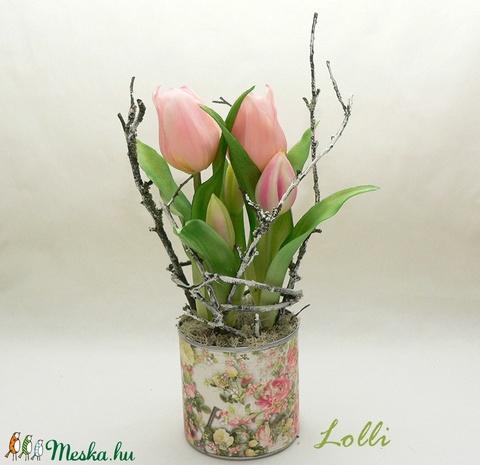 Cserepes élethű tulipán rózsaszín (Lolli) - Meska.hu