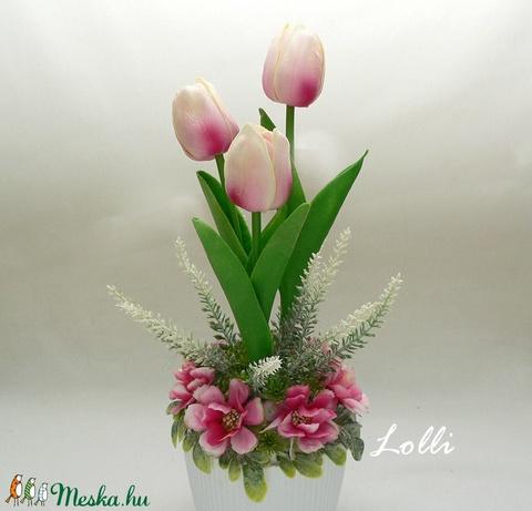 Cserepes mű tulipán pinkes (Lolli) - Meska.hu