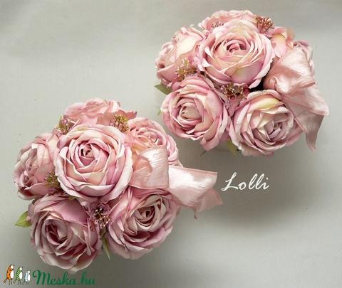 Púder rózsás virágdobozok párban (Lolli) - Meska.hu