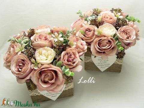 Vintage rózsás szülőköszöntő virágdobozok párban - Meska.hu