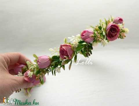 Mályva rózsás örökcsokor, menyasszonyi csokor és fejkoszorú Verának! - Meska.hu
