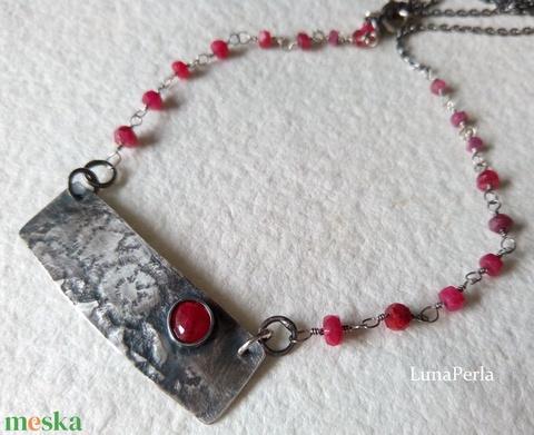 Ezüst - rubin nyaklánc medállal (lunaperla) - Meska.hu