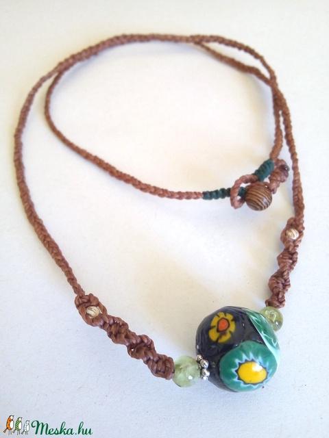 • MILLEFIORI • gombolós makramé nyaklánc millefiori régiséggel és ezüsttel - Meska.hu