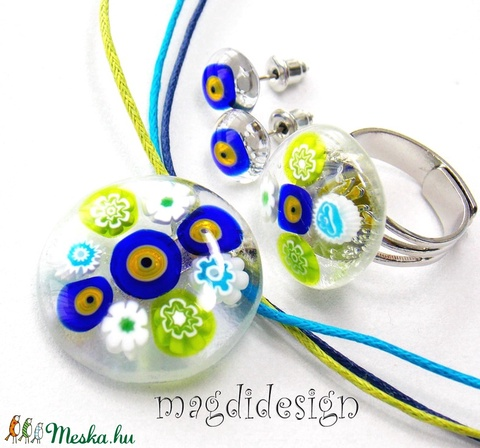 Akció!  Virágok üvegékszer szett, nyaklánc, gyűrű, fülbevaló (magdidesign) - Meska.hu