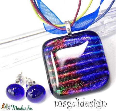 Szivárványos kék tenger üvegékszer szett, nyaklánc, pötty fülbevaló (magdidesign) - Meska.hu
