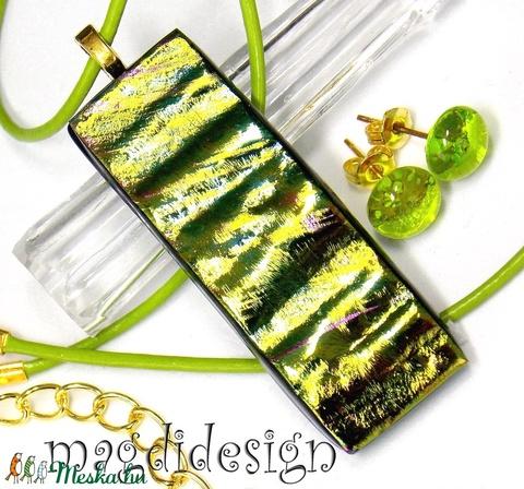 Aranyló zöld színjáték üvegékszer szett nyaklánc, stiftes fülbevaló (magdidesign) - Meska.hu