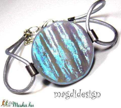 Kék-zöld selyemcukor üvegékszer szett medál, stiftes fülbevaló (magdidesign) - Meska.hu