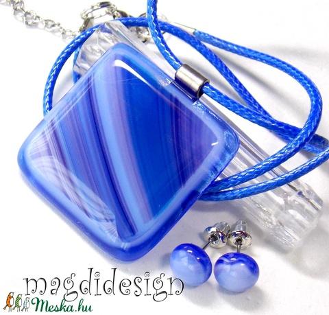 Lilás-kék hullámzás üvegékszer szett, nyaklánc,stiftes fülbevaló (magdidesign) - Meska.hu