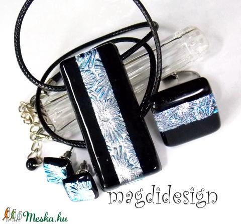 Fekete ezüst tűzijáték üvegékszer szett, nyaklánc, gyűrű pötty fülbevaló (magdidesign) - Meska.hu